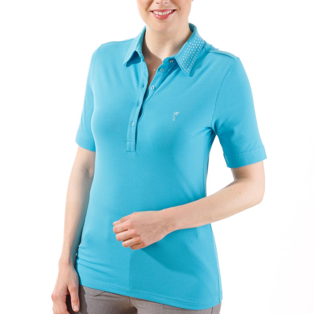 Polo mit Strass-Kragen und UV-Schutz