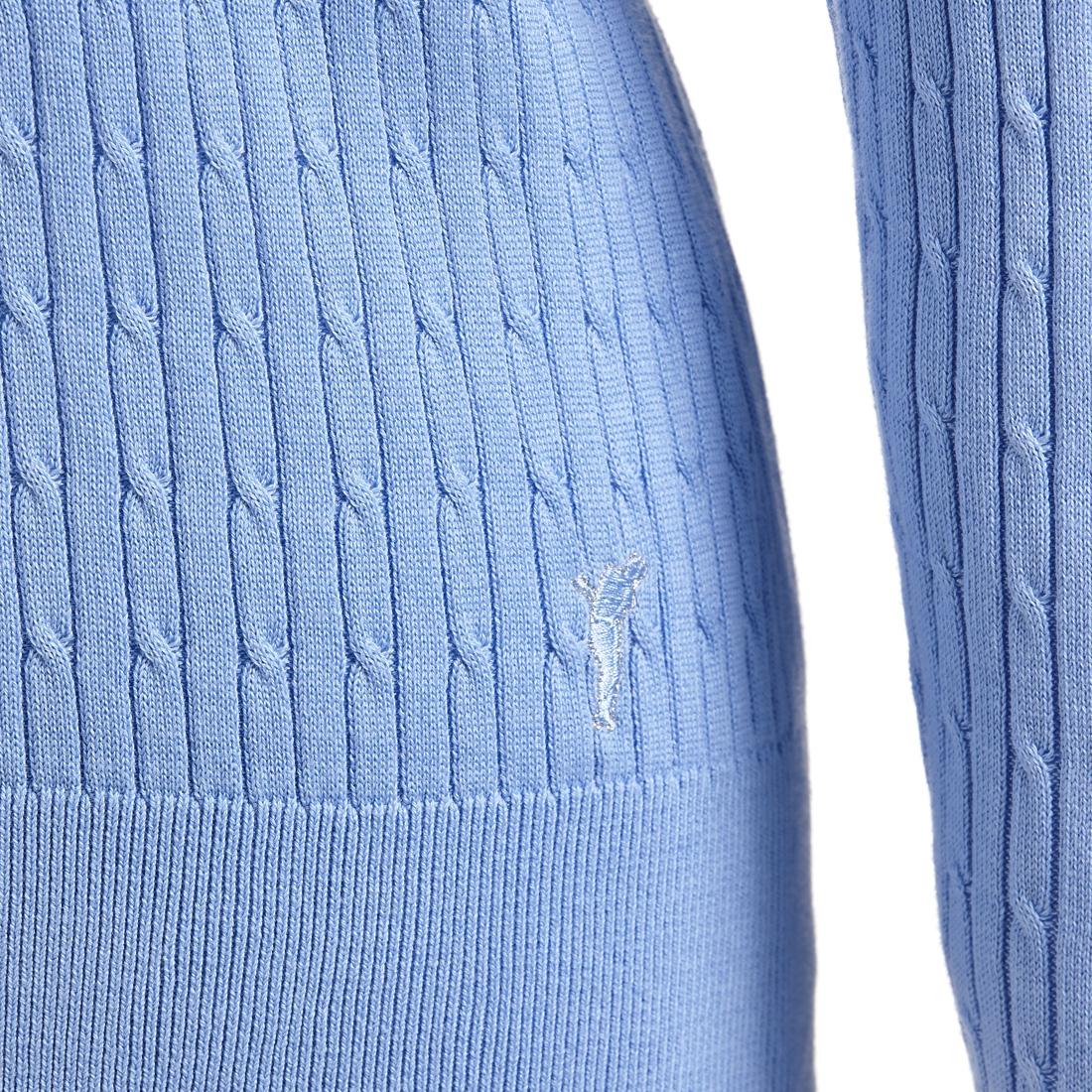 V-Ausschnitt Strickpullover mit klassischem Zopfmuster aus feiner Baumwolle