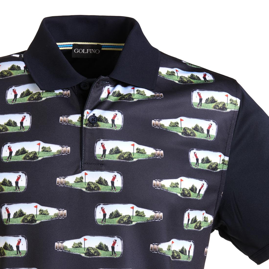 Kurzarm-Golfpolo mit Moisture Management und Allover-Print
