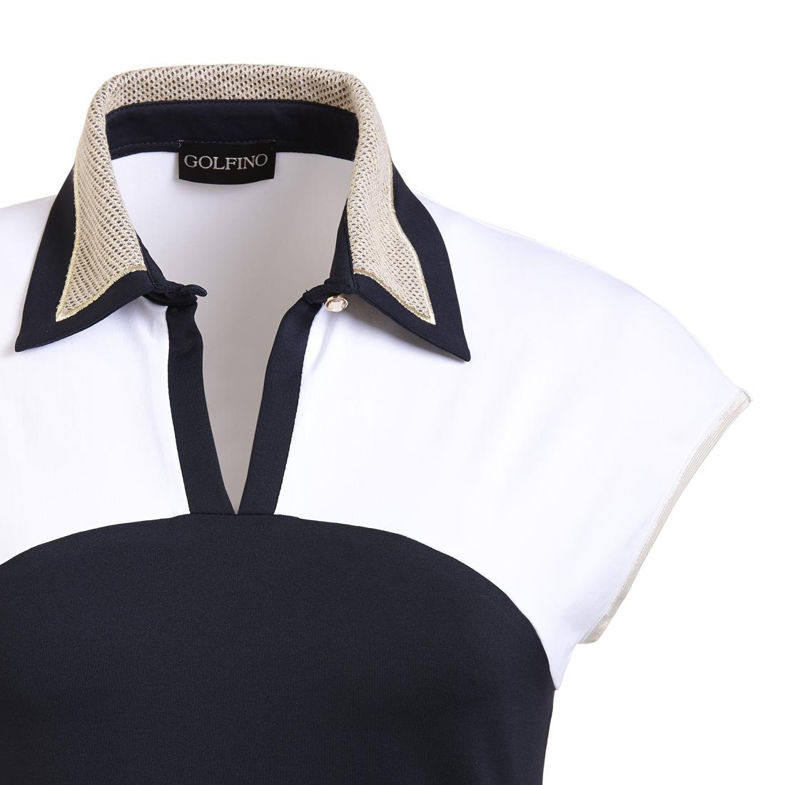 Dry Comfort Kimono Golfpolo mit goldenen Mesheinsätzen
