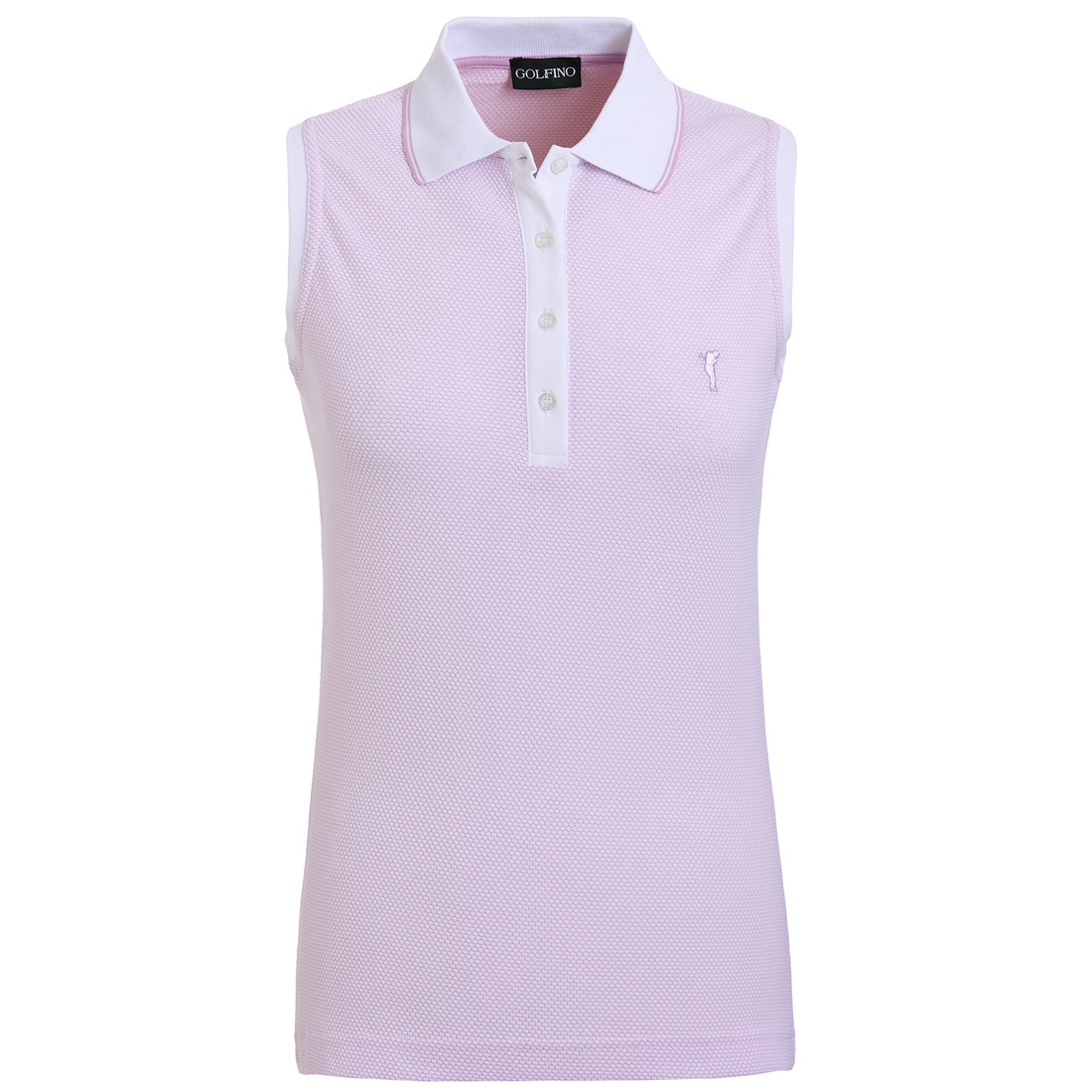 Ärmelloses Damen Funktions-Golfpoloshirt in Regular Fit mit Bubble Jacquard