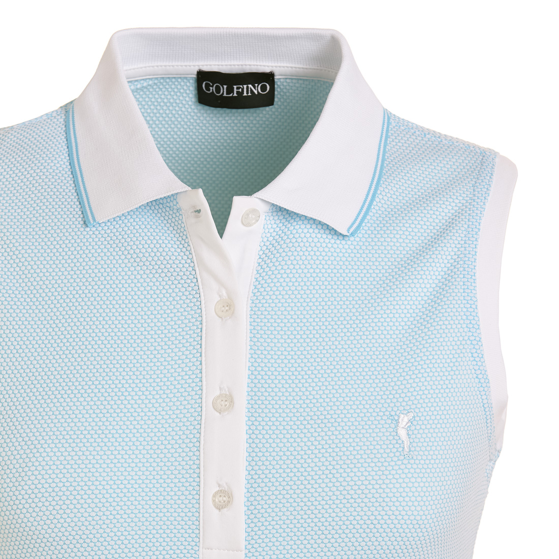 Ärmelloses Damen Funktions-Golfpoloshirt in Regular Fit mit Bubble Jacquard