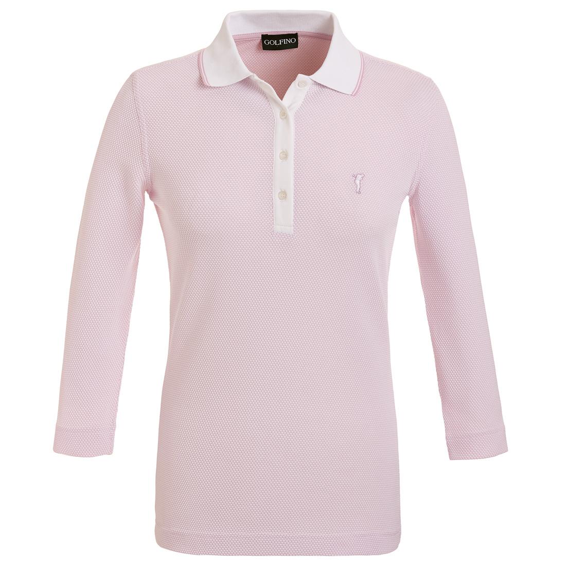 3/4-Arm Funktions-Golfpoloshirt in Regular Fit aus feinem Bubble Jacquard
