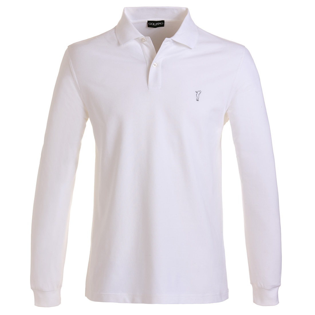 Long-sleeve functional golf polo with sun protection and moisture management