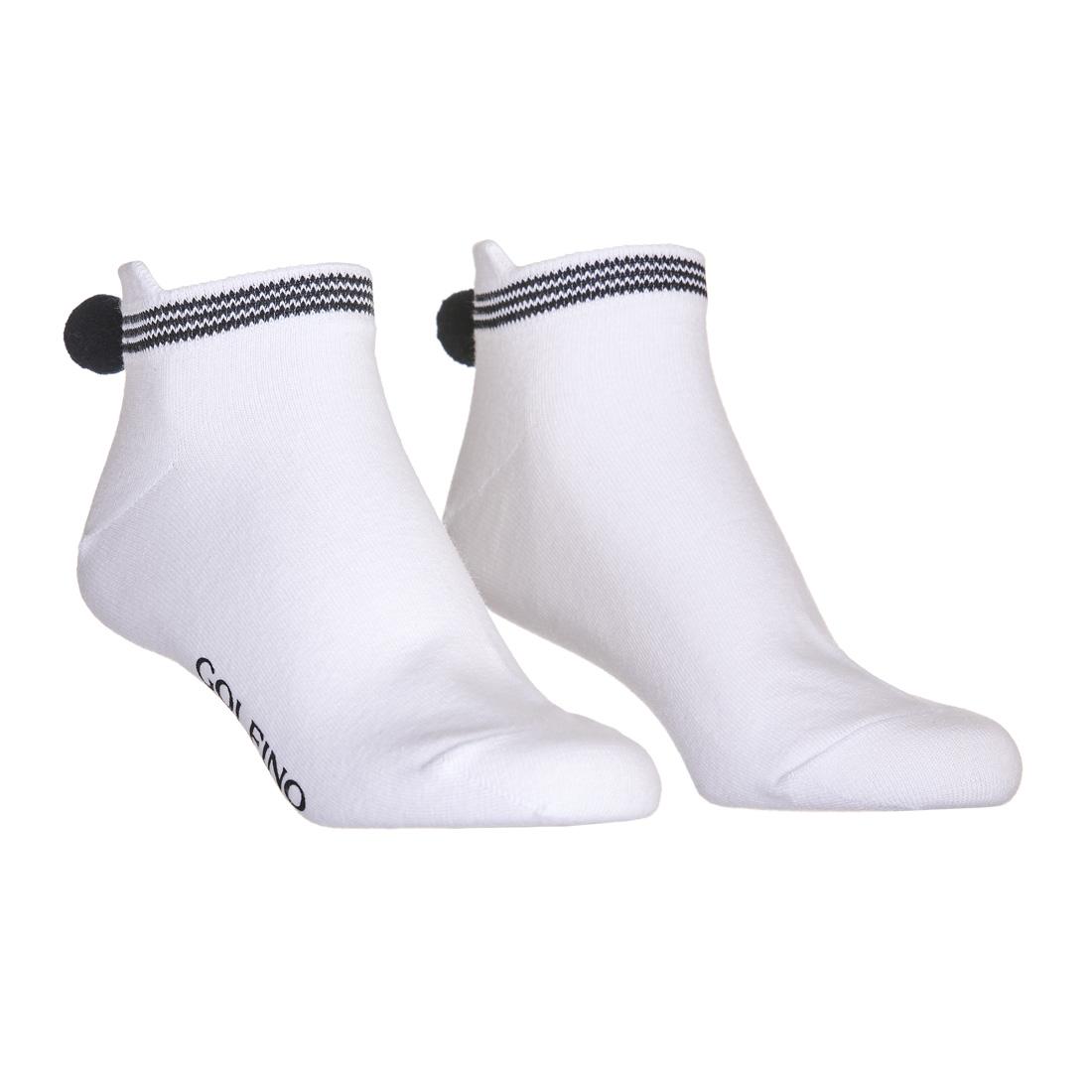 Damen Funktions-Golfsocken mit Pompom und modischem Streifen