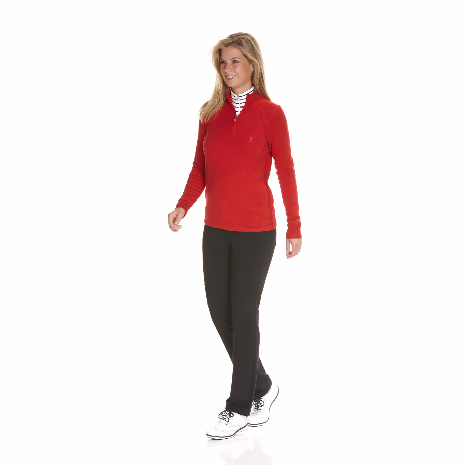 Damen Baumwoll/Kaschmir Strickpullover mit kurzem Zip