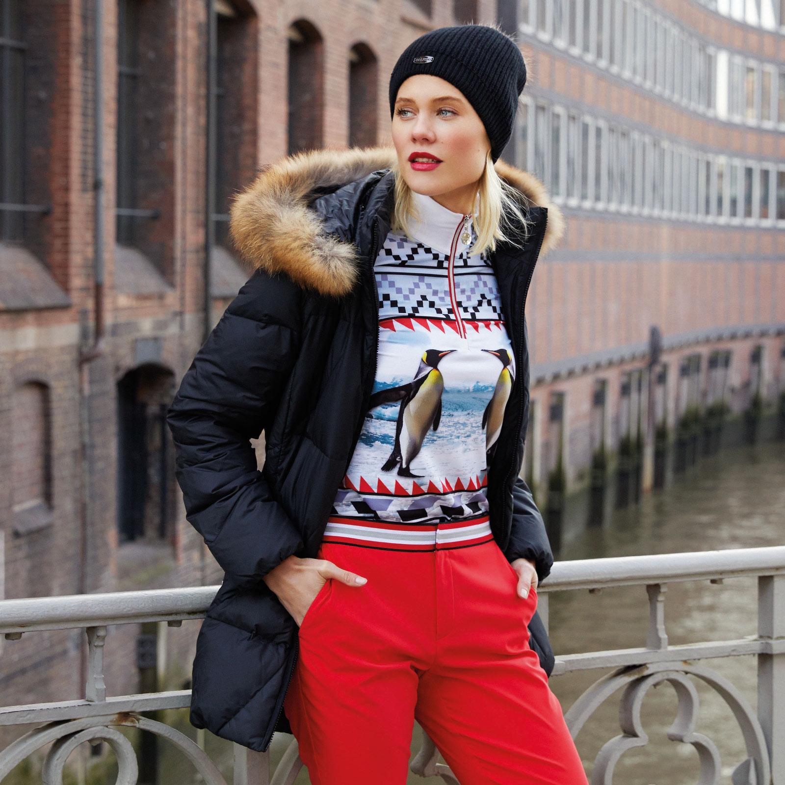 Arctic Print Pinguin Langarm Shirt Damen mit Stretchfunktion