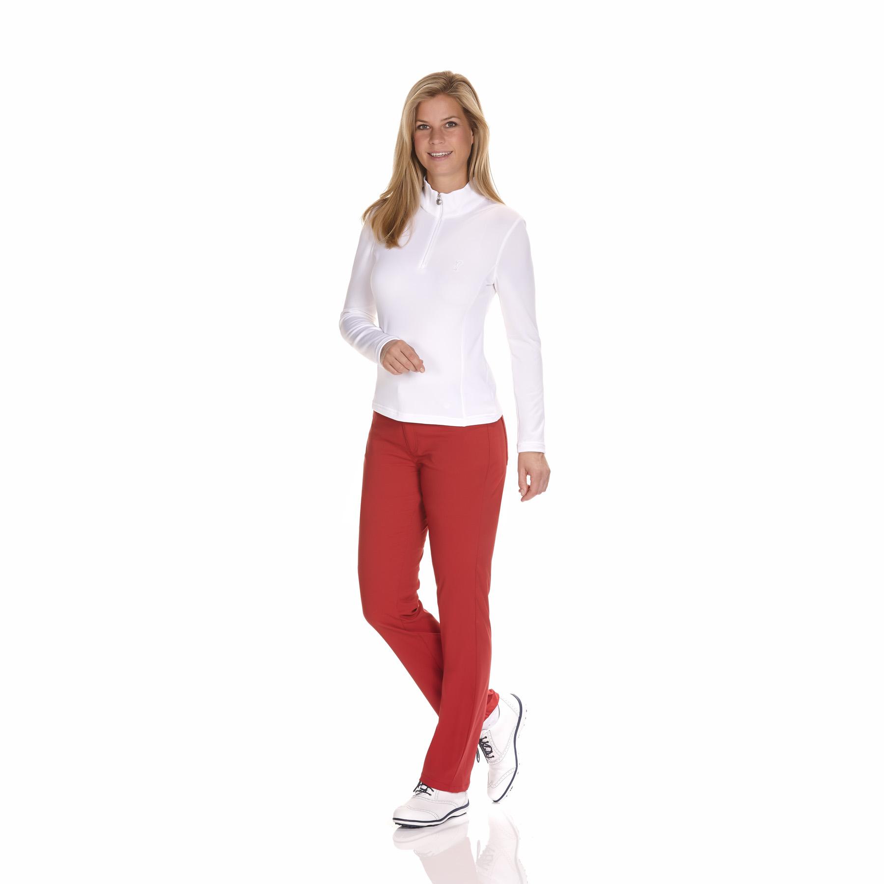 Weicher und hautfreundlicher Damen Golf Stretchunterzieher mit kurzem Zip