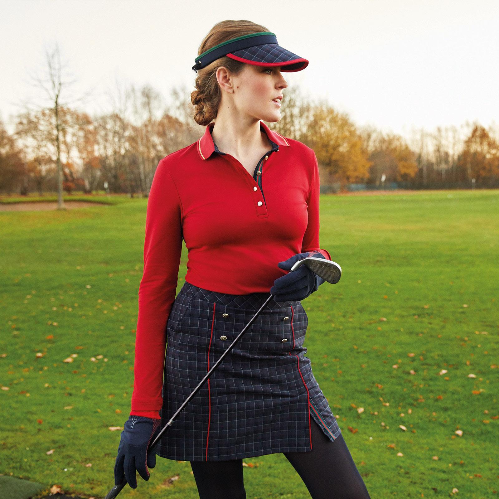 Langarm Damen Golfpolo mit Moisture Management und goldfarbenen Details