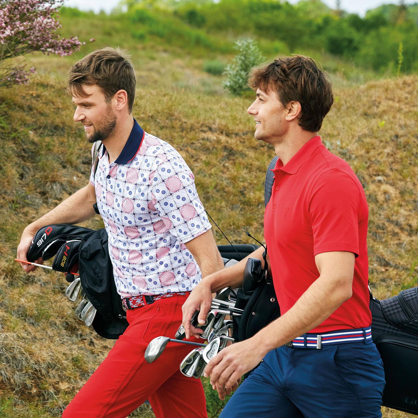 Herren Kurzarm Print-Golfpolo Sonnenschutz mit antibakteriellen Eigenschaften