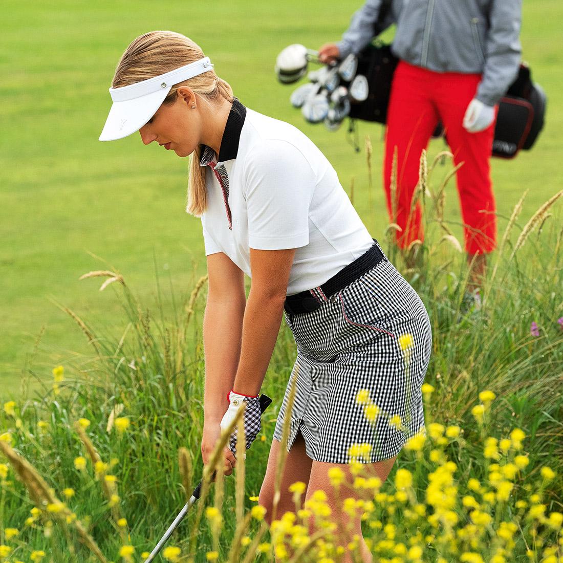 Damen Golfskort Medium mit Vichy Muster und innenliegender Hose