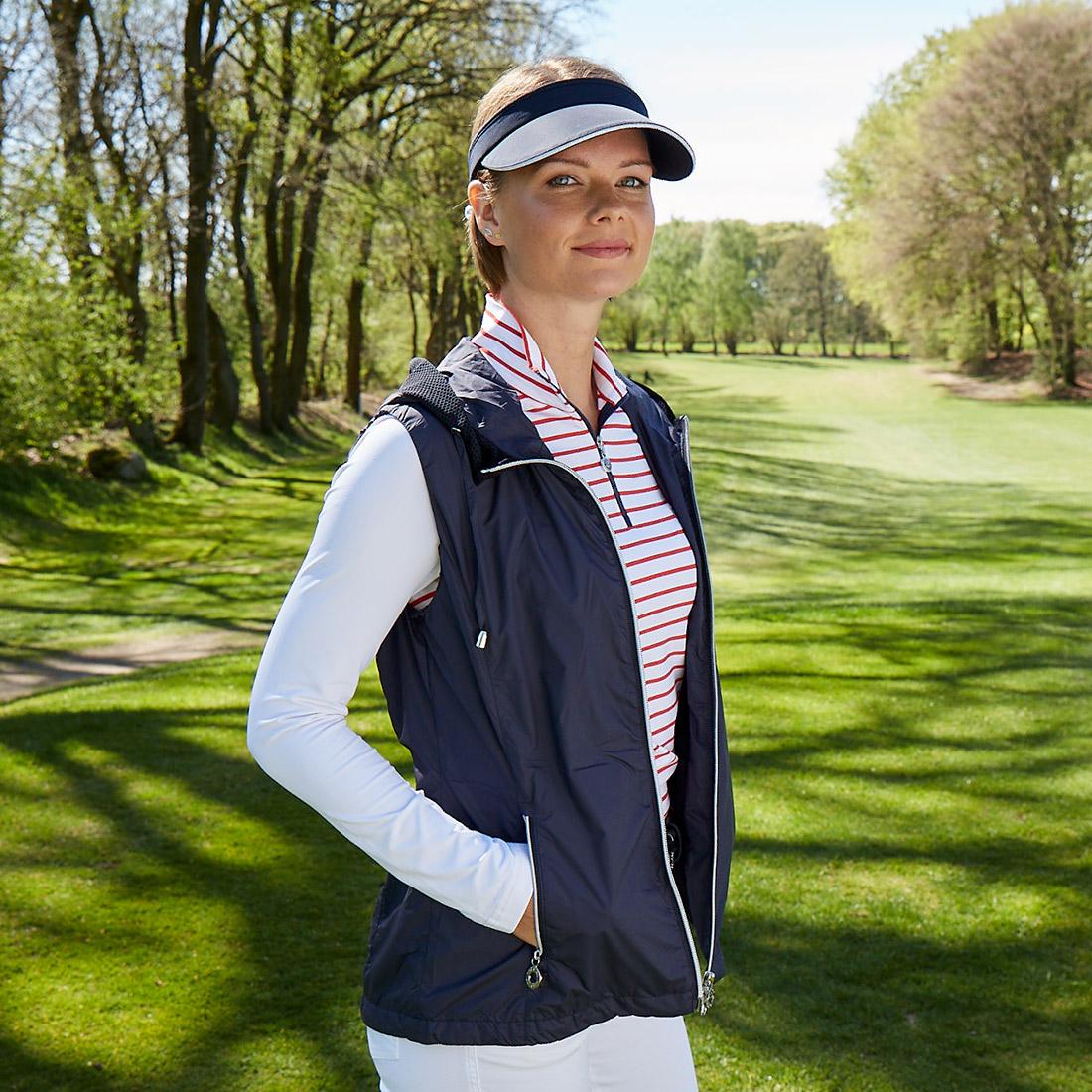 Damen Golfweste mit Kapuze mit Windschutz-Funktion aus sehr leichter Mikrofaser