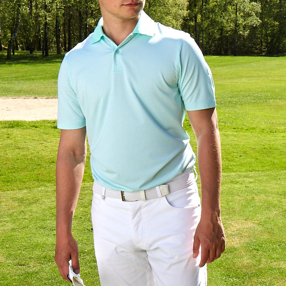 Gestreiftes Herren Kurzarm-Golfpolo