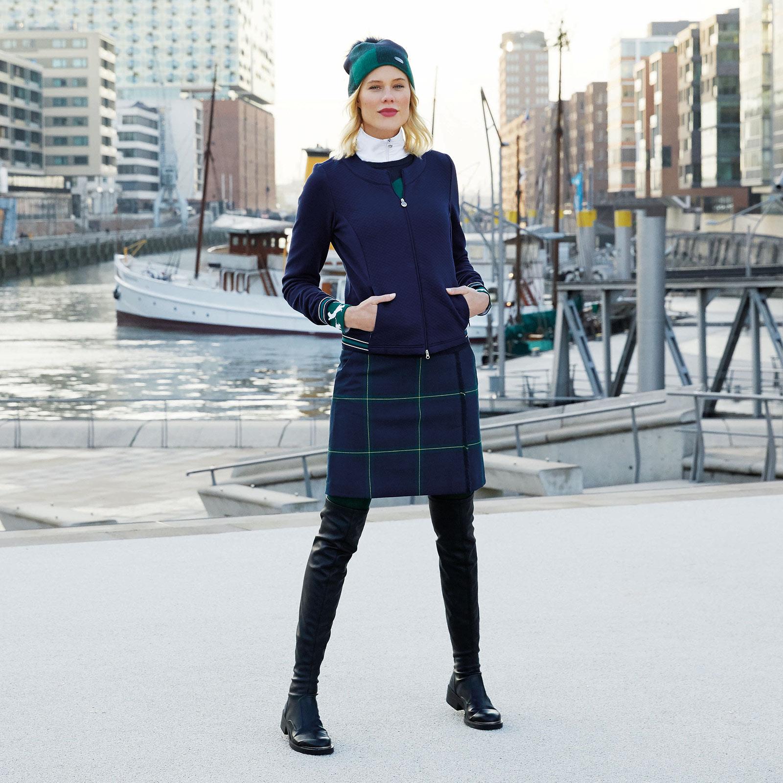 Langer Damen Karo-Golfskort aus softem Stretchmaterial mit Shorts