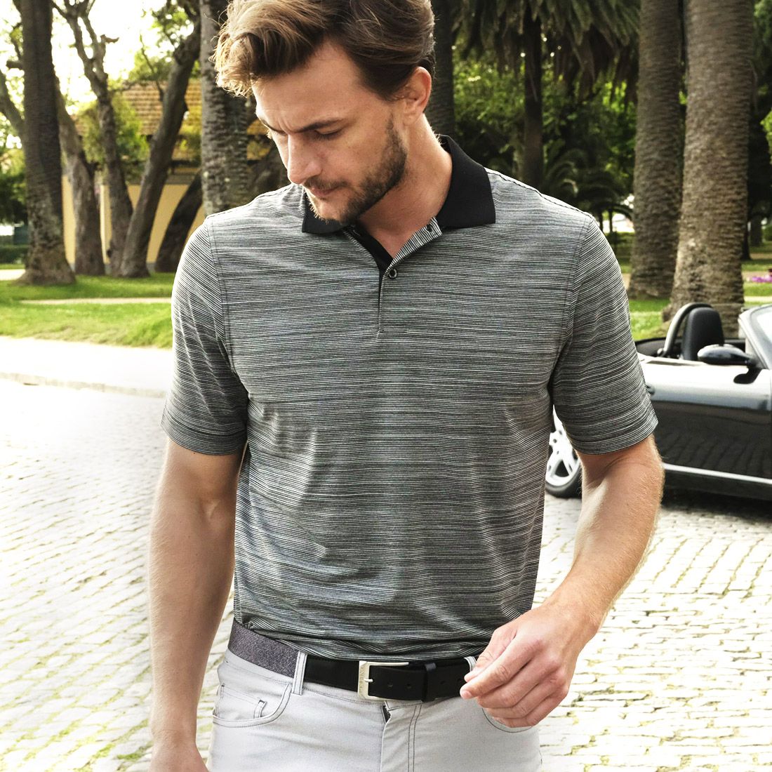 Gestreiftes Herren Casual Kurzarm Funktions-Golfpolo Quick Dry