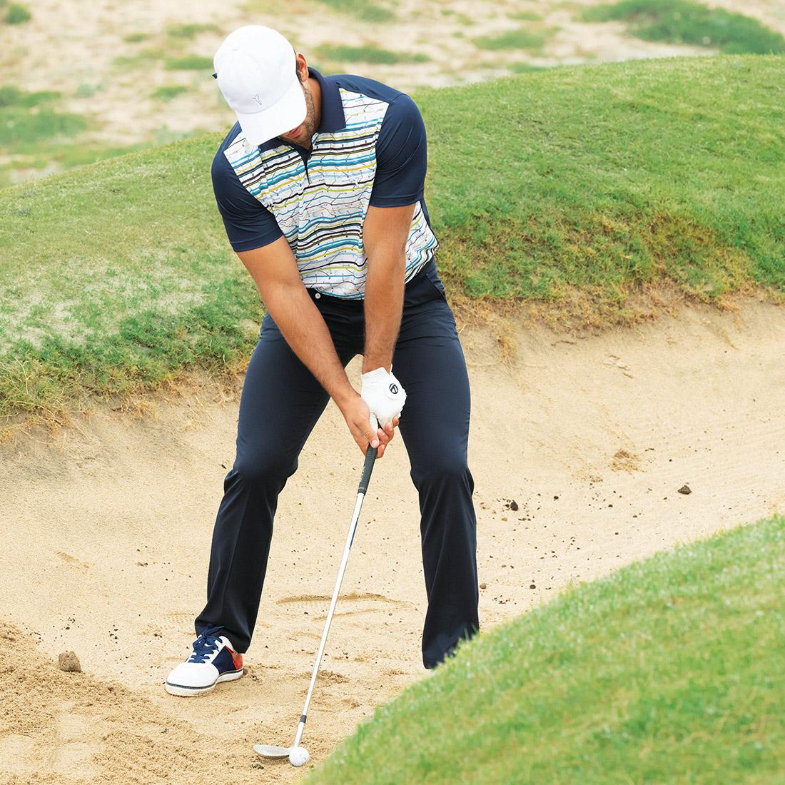 Herren Moisture-Management Golfpolo mit Print und Silver Protection