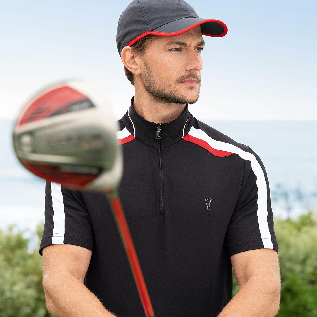 Herren Kurzarm Performance Golf-Troyer Extra Dry im Pro Look