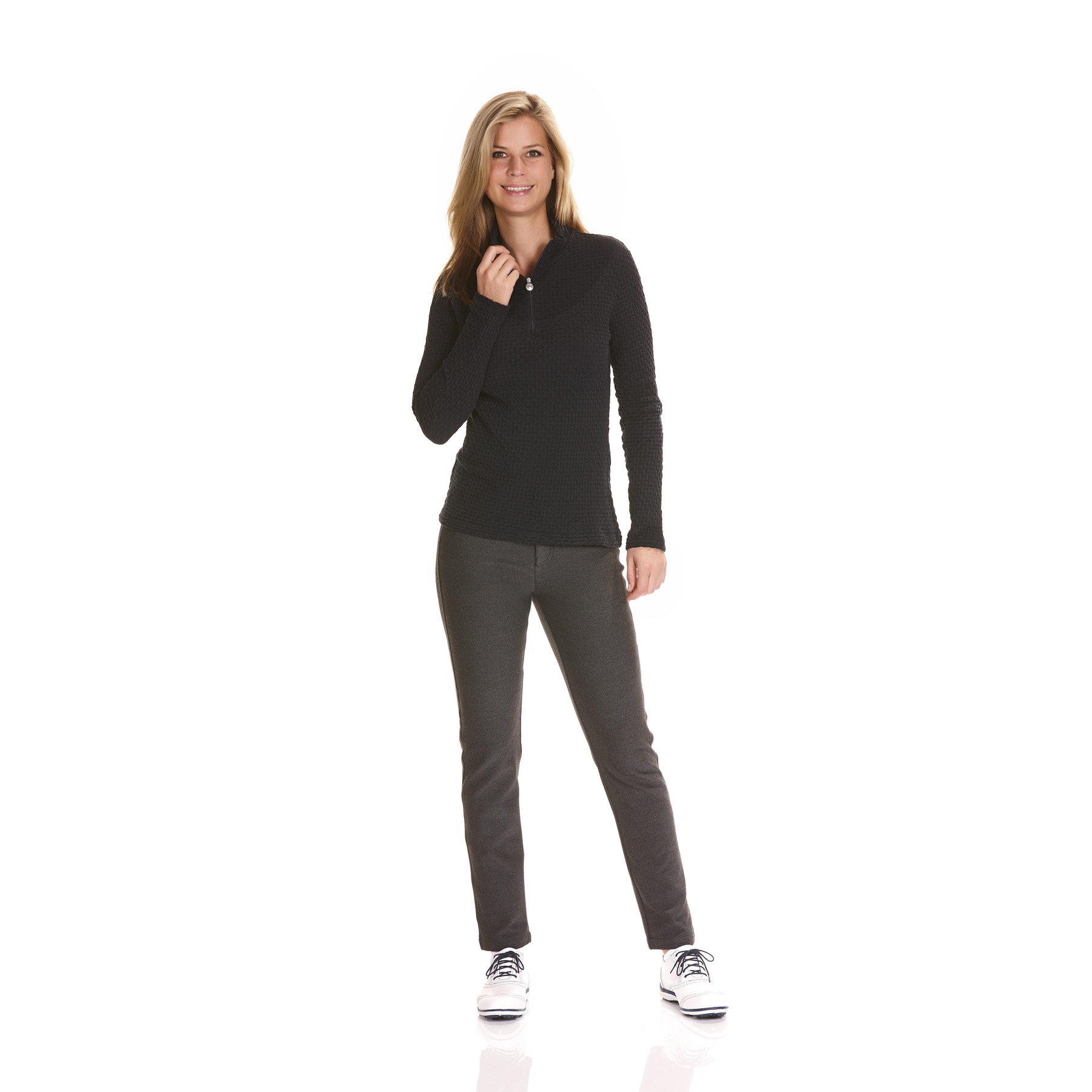 Gemusterter Damen Baumwoll Funktions-Stretchtroyer in Slim Fit