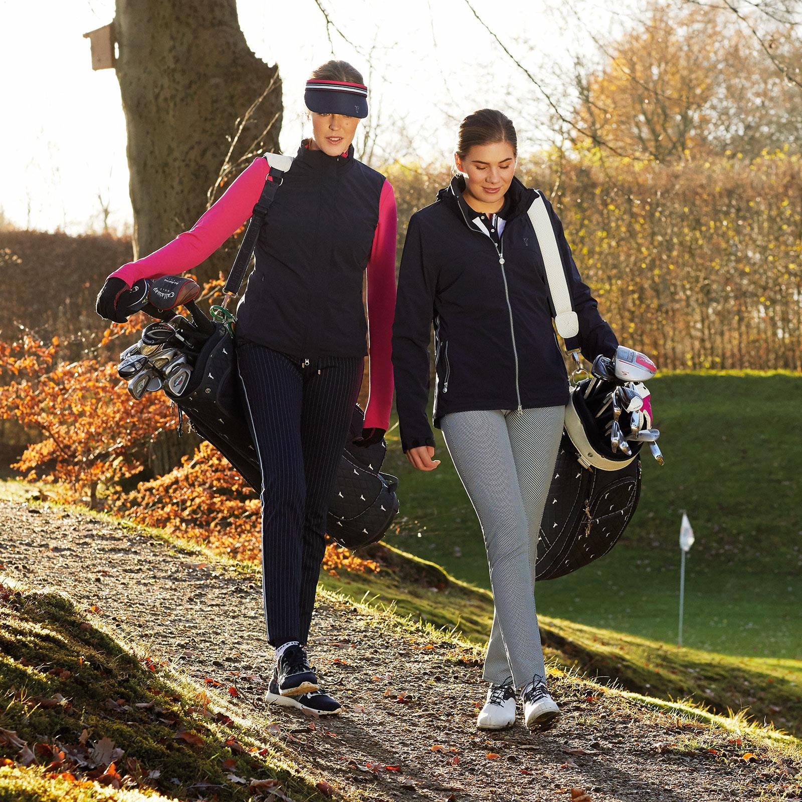 Gemusterte 7/8 Damen Golfhose mit Stretchfunktion im 5-Pocket-Stil