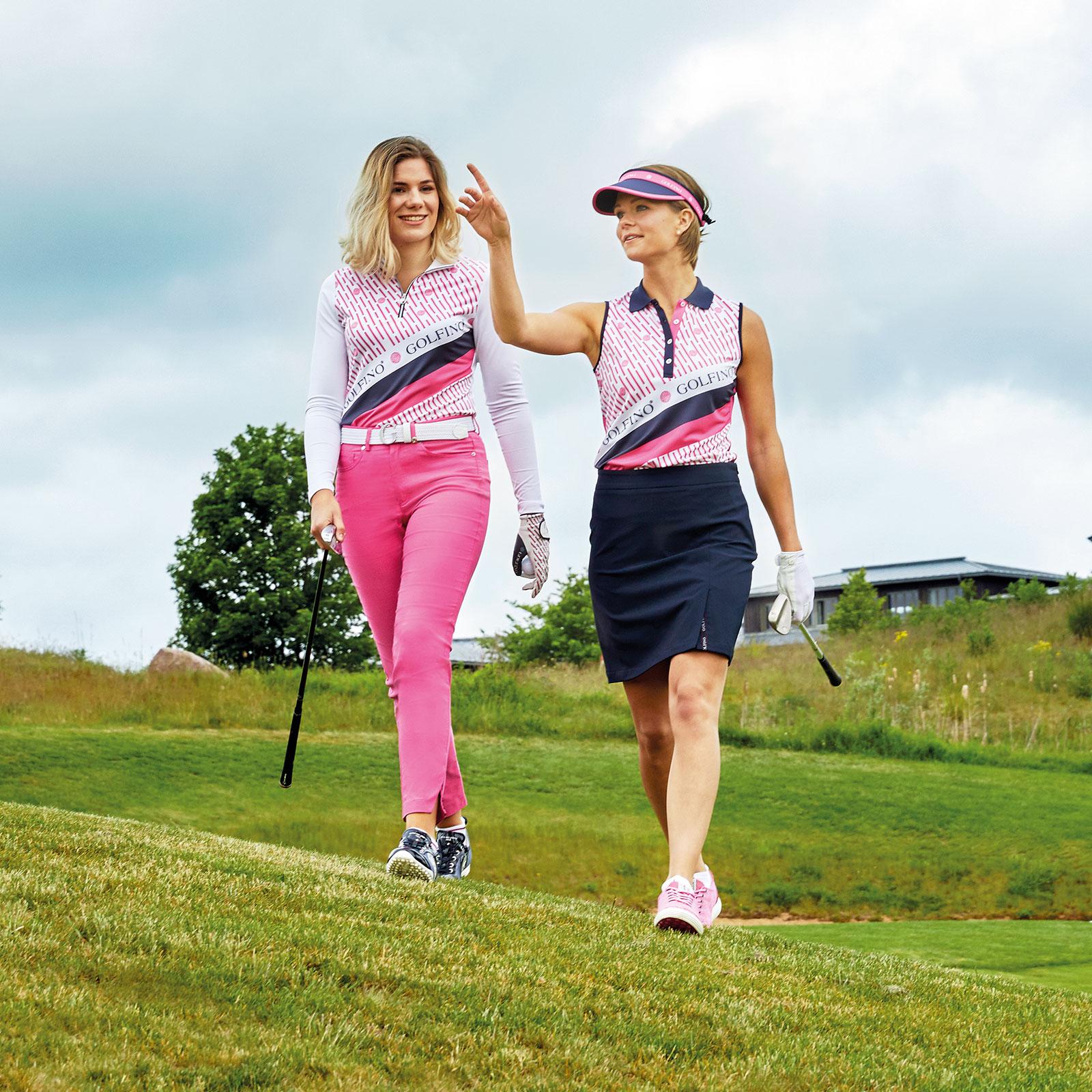 Damen Golf-Caprihose mit Sonnenschutz und Stretch-Material in Slim Fit