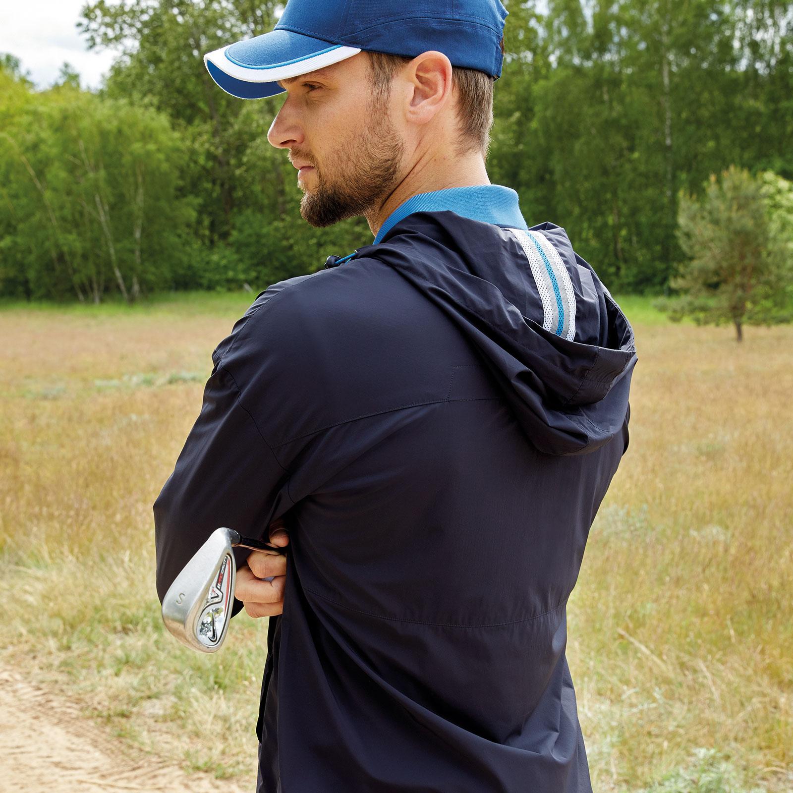 Herren Golfjacke mit Windschutz, Kapuze und kurzem Zip in Loose Fit