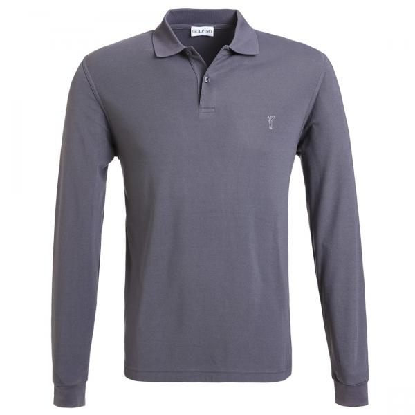 GOLFINO Herren Langarm Basic Golfpolo mit Moisture Management in Regular Fit