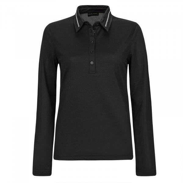 GOLFINO Damen Stretch Golfpolohemd mit Moisture Management und Pailletten Besatz
