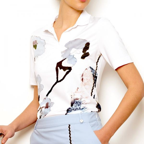 GOLFINO Damen Kurzarm Techno Stretch Funktions Golfpolohemd mit floralem Print