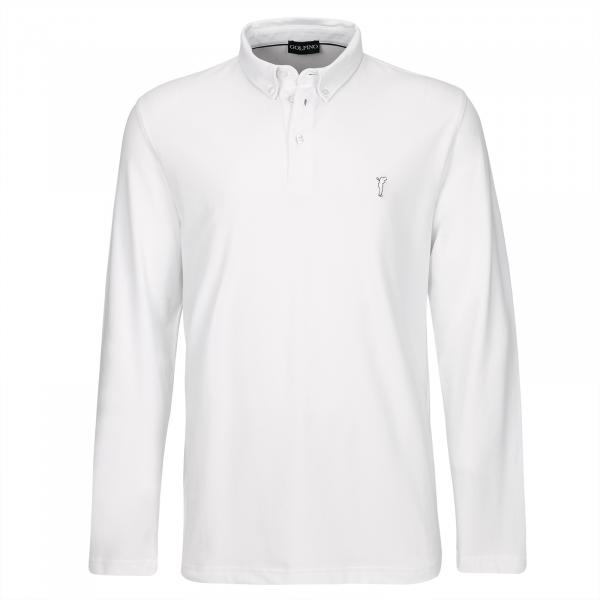 GOLFINO Langarm Button Down Herren Golfpolo mit Sun Protection in Regular Fit