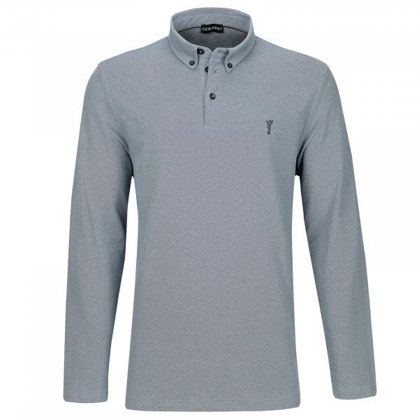 GOLFINO Langarm Button Down Herren Golfpolo mit Sun Protection in Regular Fit