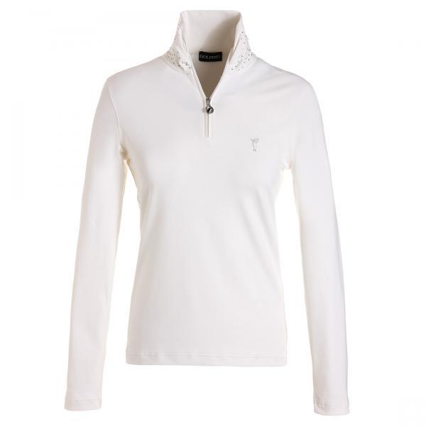 GOLFINO Dry Comfort Troyer mit Schalkragen Weiß