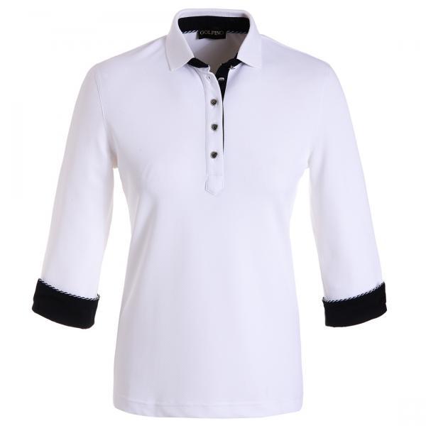 GOLFINO Dry Comfort Poloshirt mit 3/4 Arm Weiß